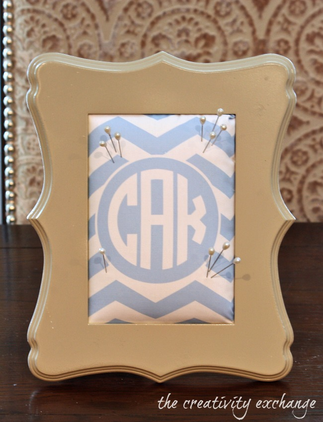 Framed pin cushions using free monogrammed printables printed on fabric {The Creativity Exchange}