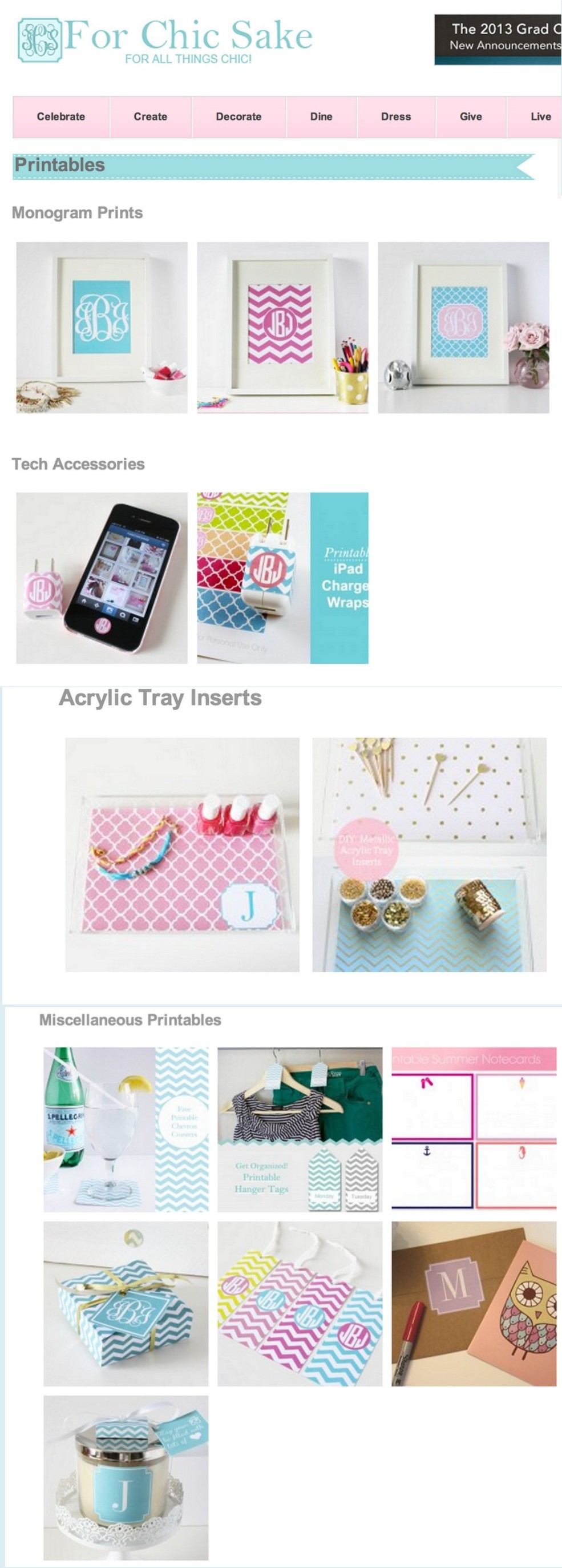 Collection of awesome free printables offered by For Chic Sake