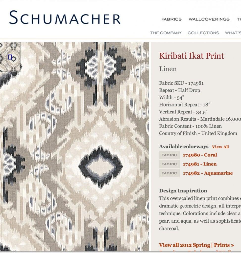 Schumacher Linen Fabric- Kiribati Ikat