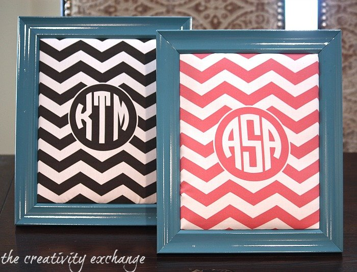 framed corkboards using a free monogrammed printable printed on fabric {The Creativity Exchange}