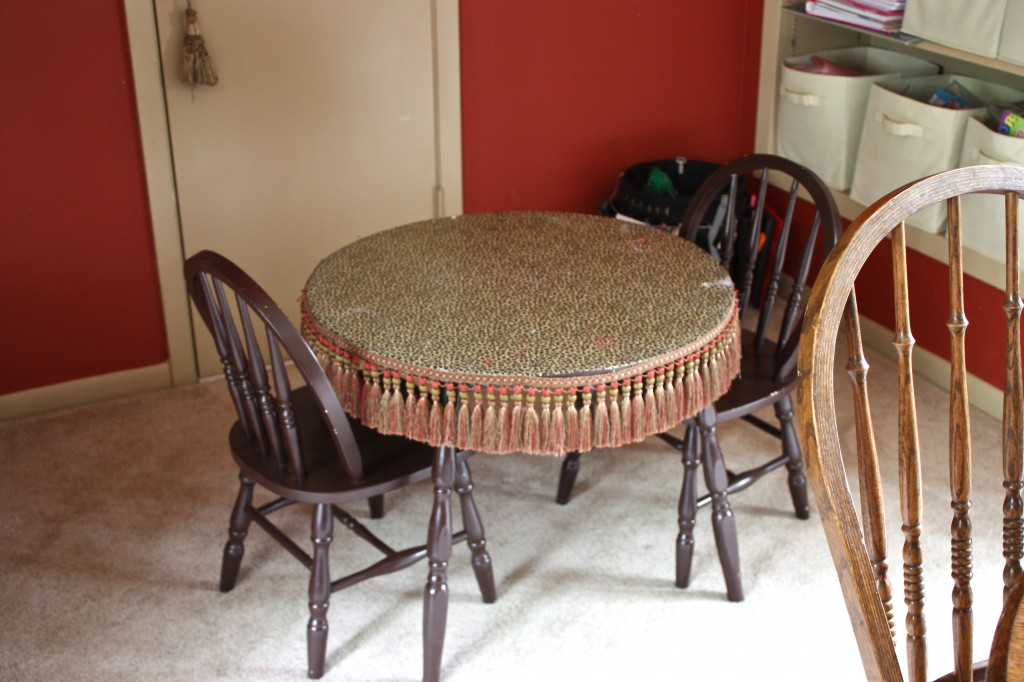 Decoupaged Fabric Table with Bouillon Fringe {The Creativity Exchange}
