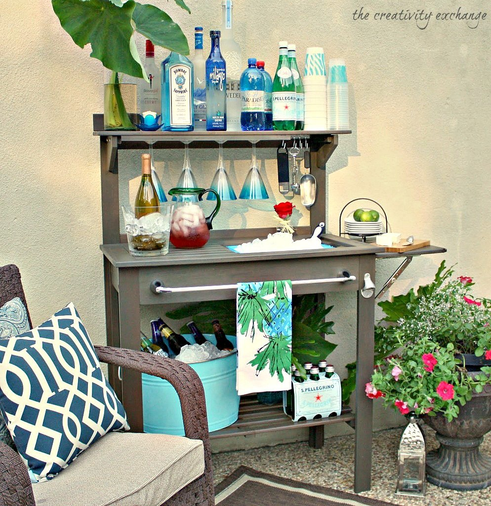 Simple Turn an inexpensive potting bench into an outdoor bar The Creativity Exchange