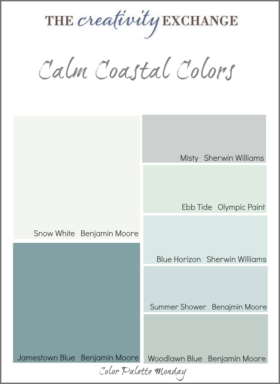 Superb Calm Coastal Paint Colors Color Palette Monday Largest Home Design Picture Inspirations Pitcheantrous