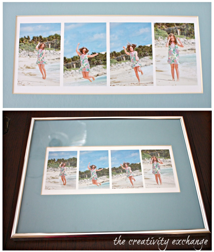 Take four action shots of kids and print out on cardstock and frame