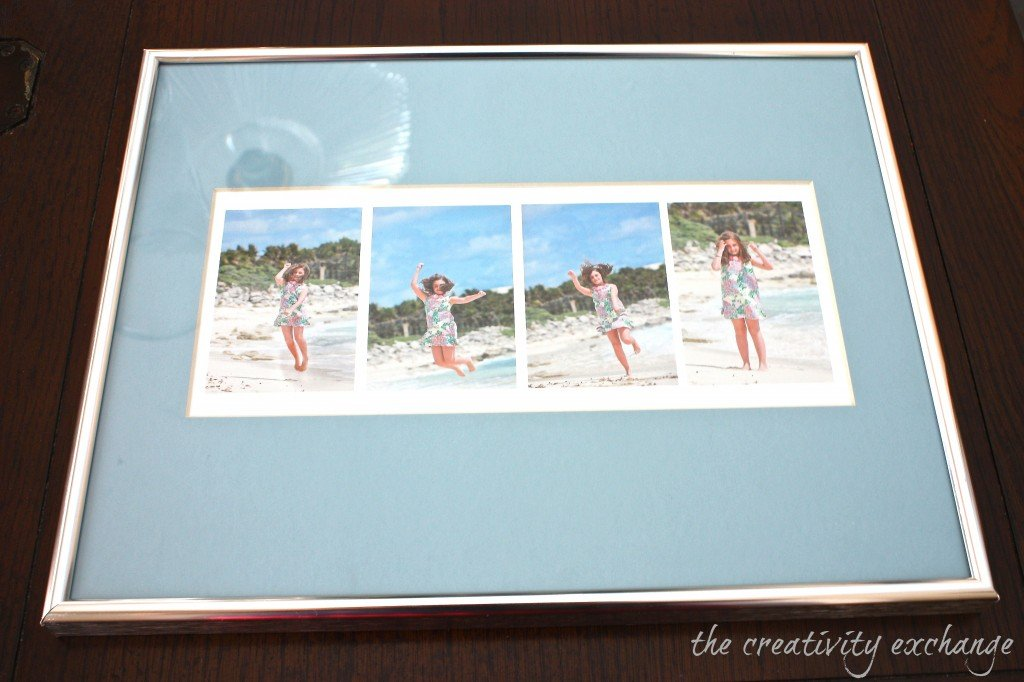 Take four action shots of your child and create a collage in Picasa and print on smooth cardstock