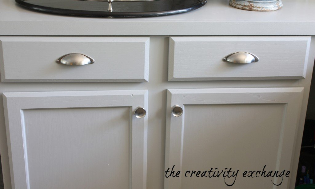 Brushed nickel cabinet hardware from Lowe's {The Creativity Exchange}