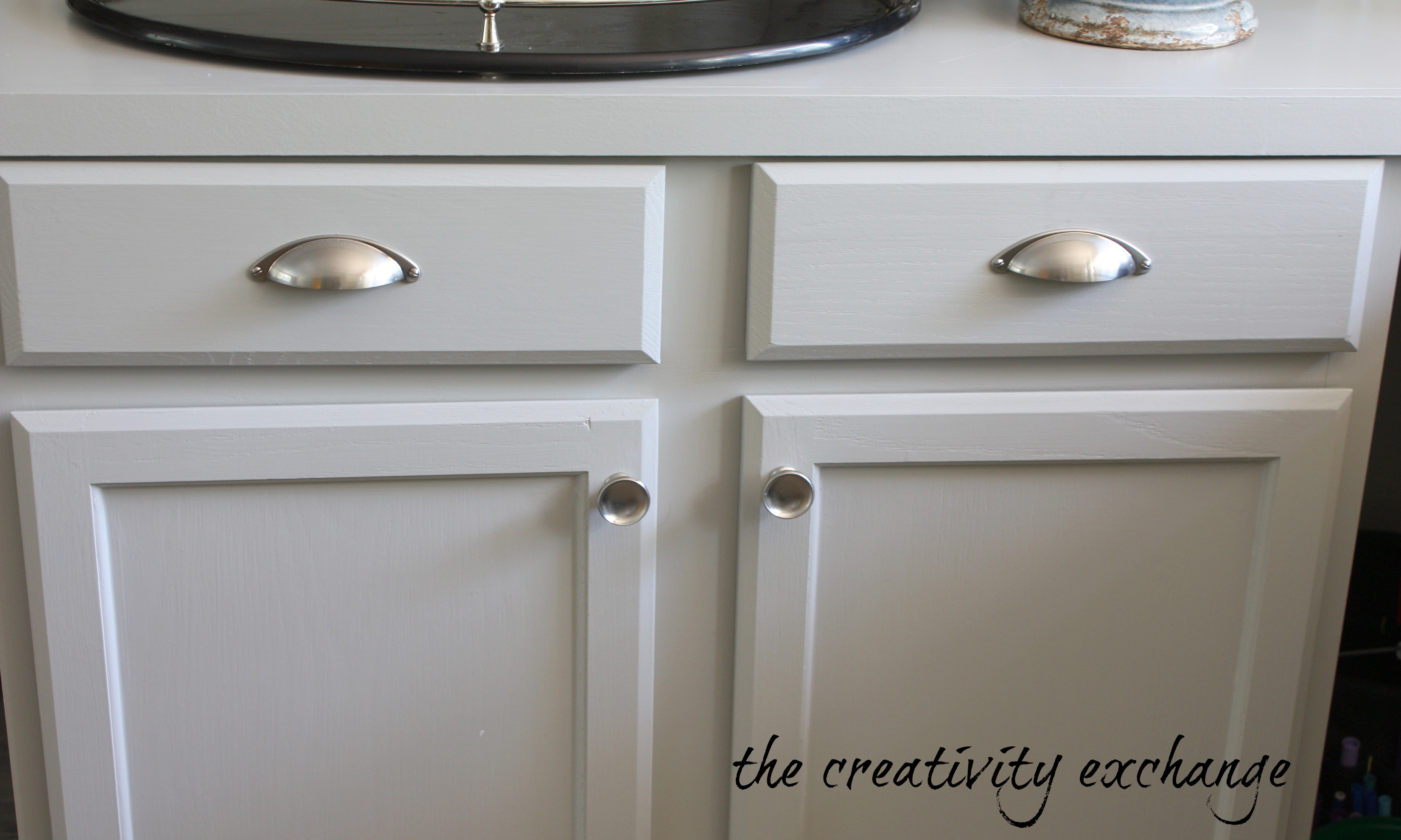 Office craft room revamp progress report for Brushed nickel hardware for kitchen cabinets