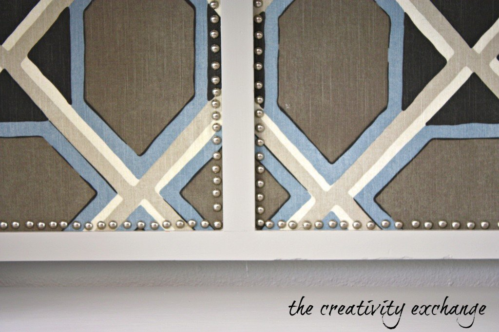 Bulletin Board covered with Robert Allen fabric {The Creativity Exchange}