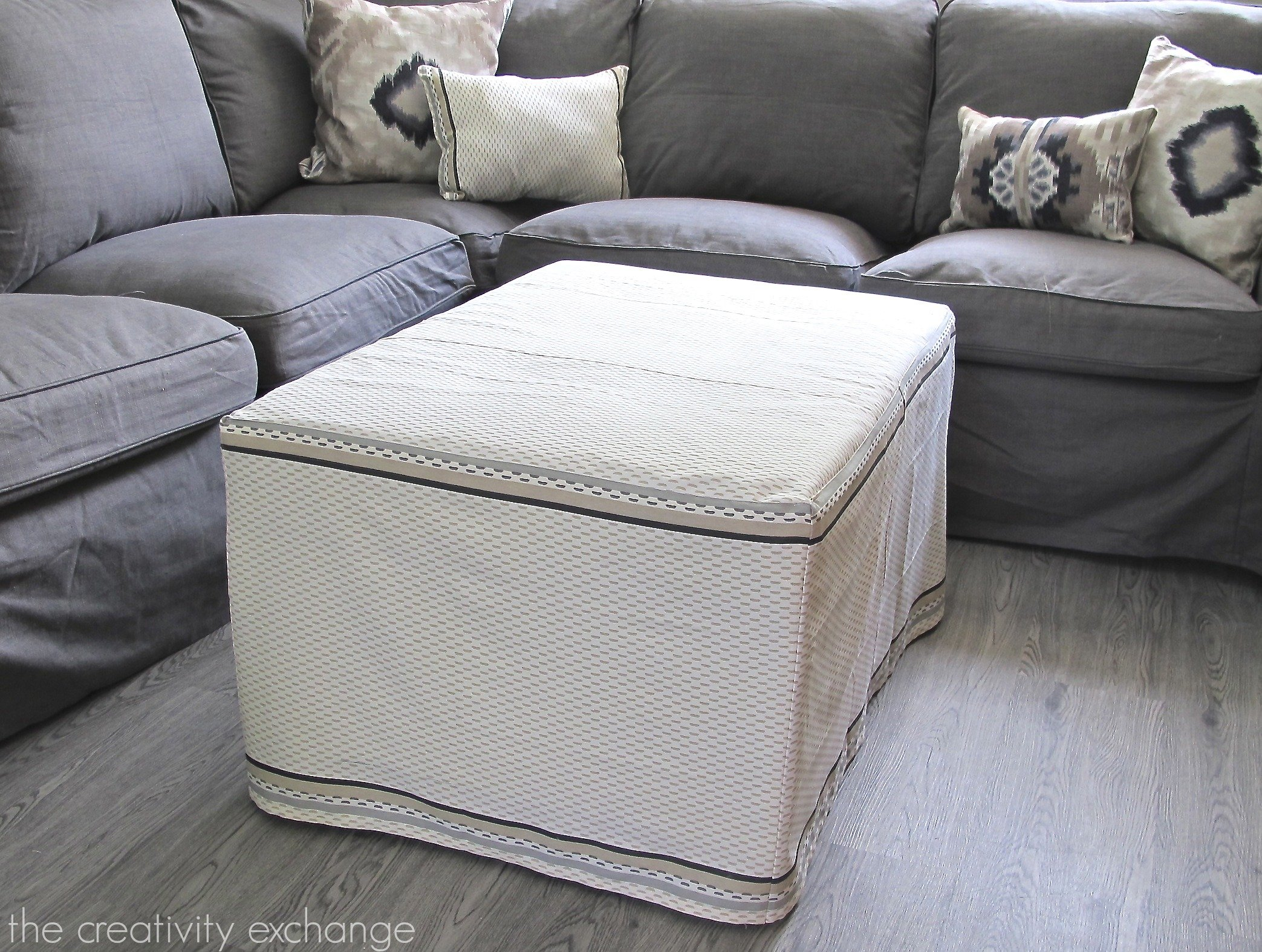 My Dish Towel Ottoman Slipcover Office Craft Room Update