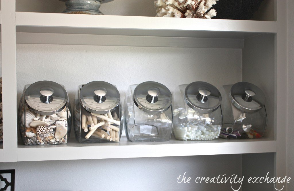 Organize craft supplies with inexpensive candy jar canisters from Target {The Creativity Exchange}