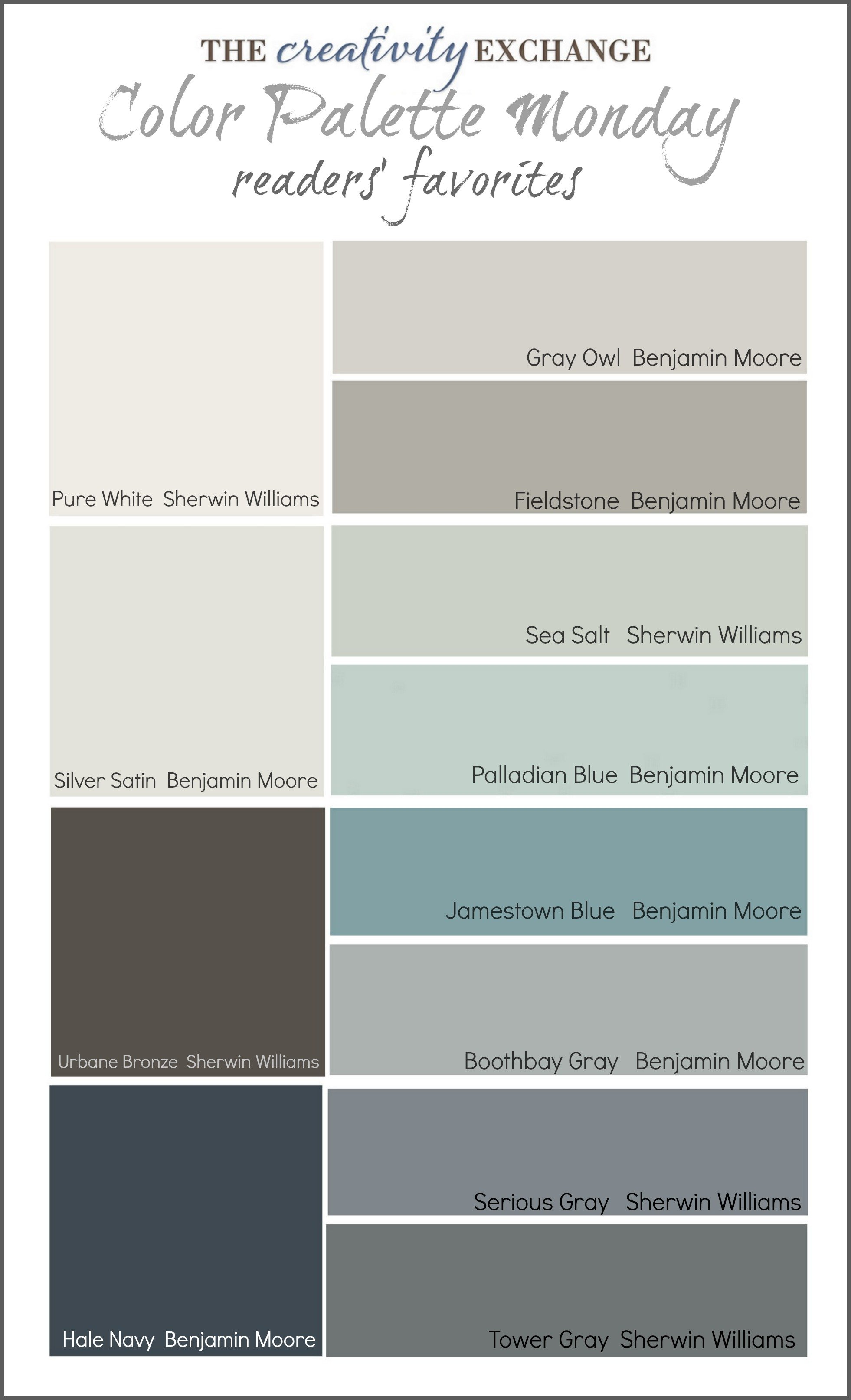 Readers 39 favorite paint colors color palette monday for Grey white paint colors
