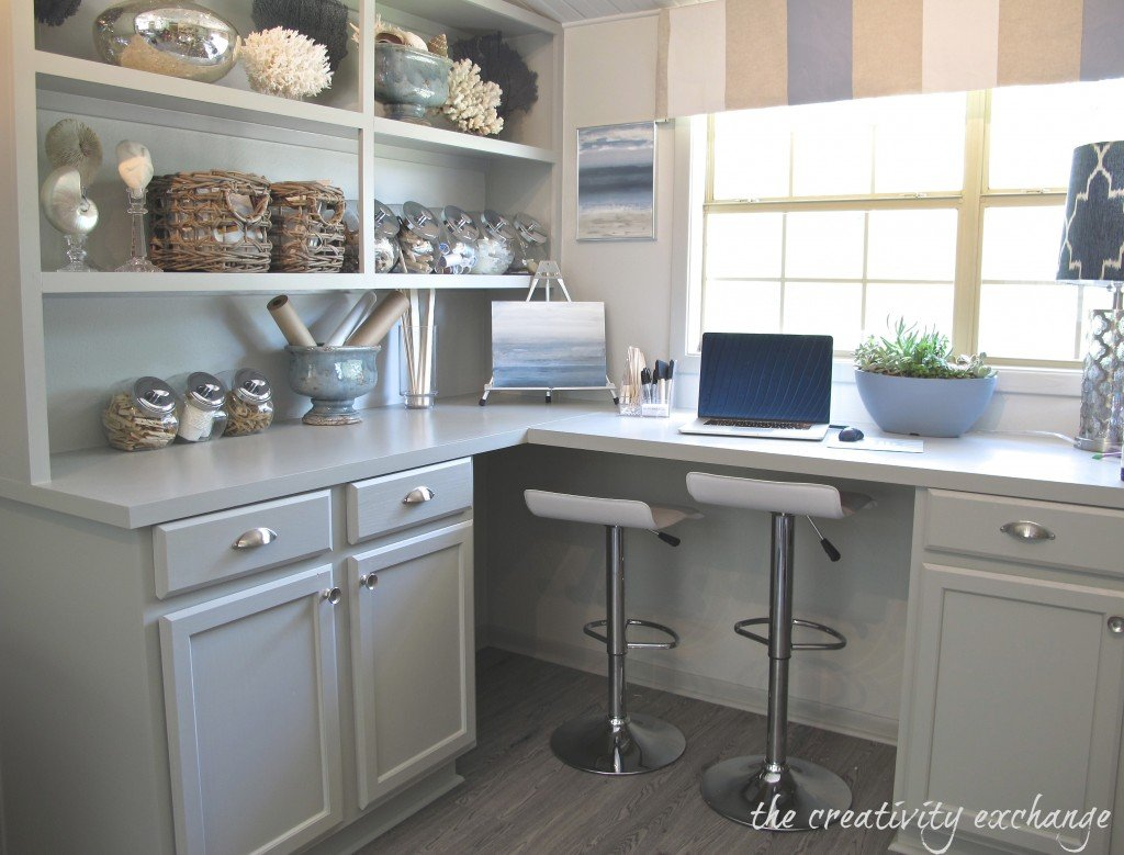 Inexpensive ways to create built-in counters and shelving using pre-made kitchen lowers {The Creativity Exchange}
