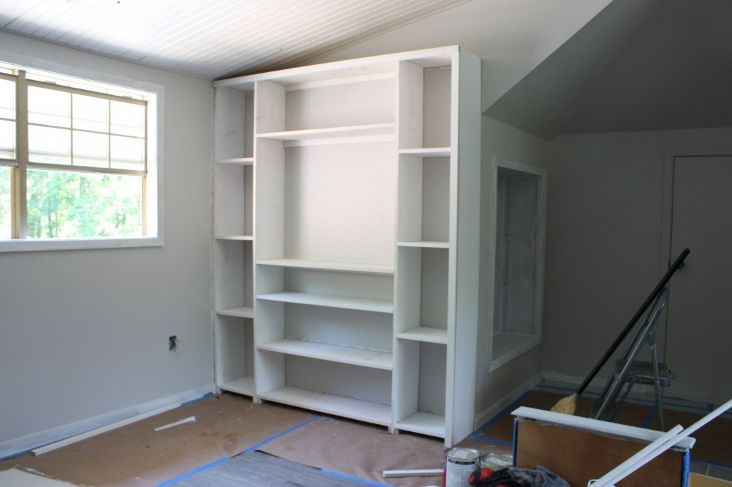 How to build inexpensive built ins using pre made stock cabinets and standard size plywood {The Creativity Exchange}