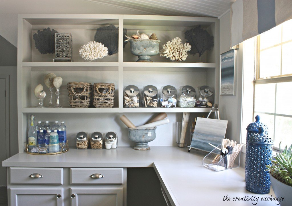 Inexpensive ways to create built in shelving and counters (The Creativity Exchange)