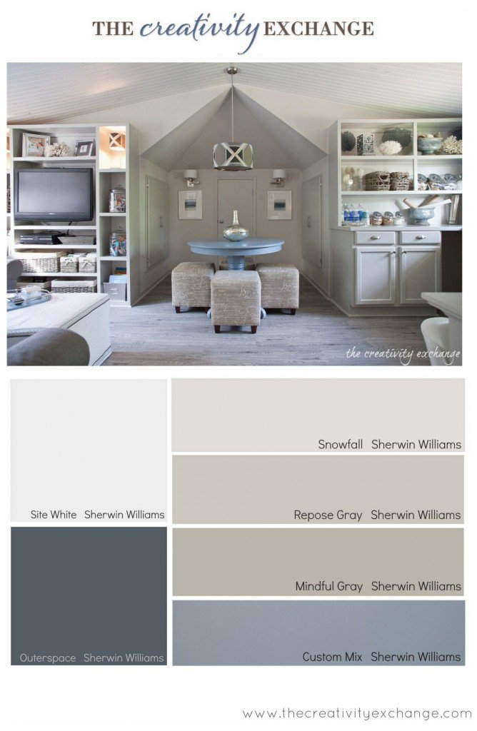 Paint colors used for office/craft room revamp from The Creativity Exchange