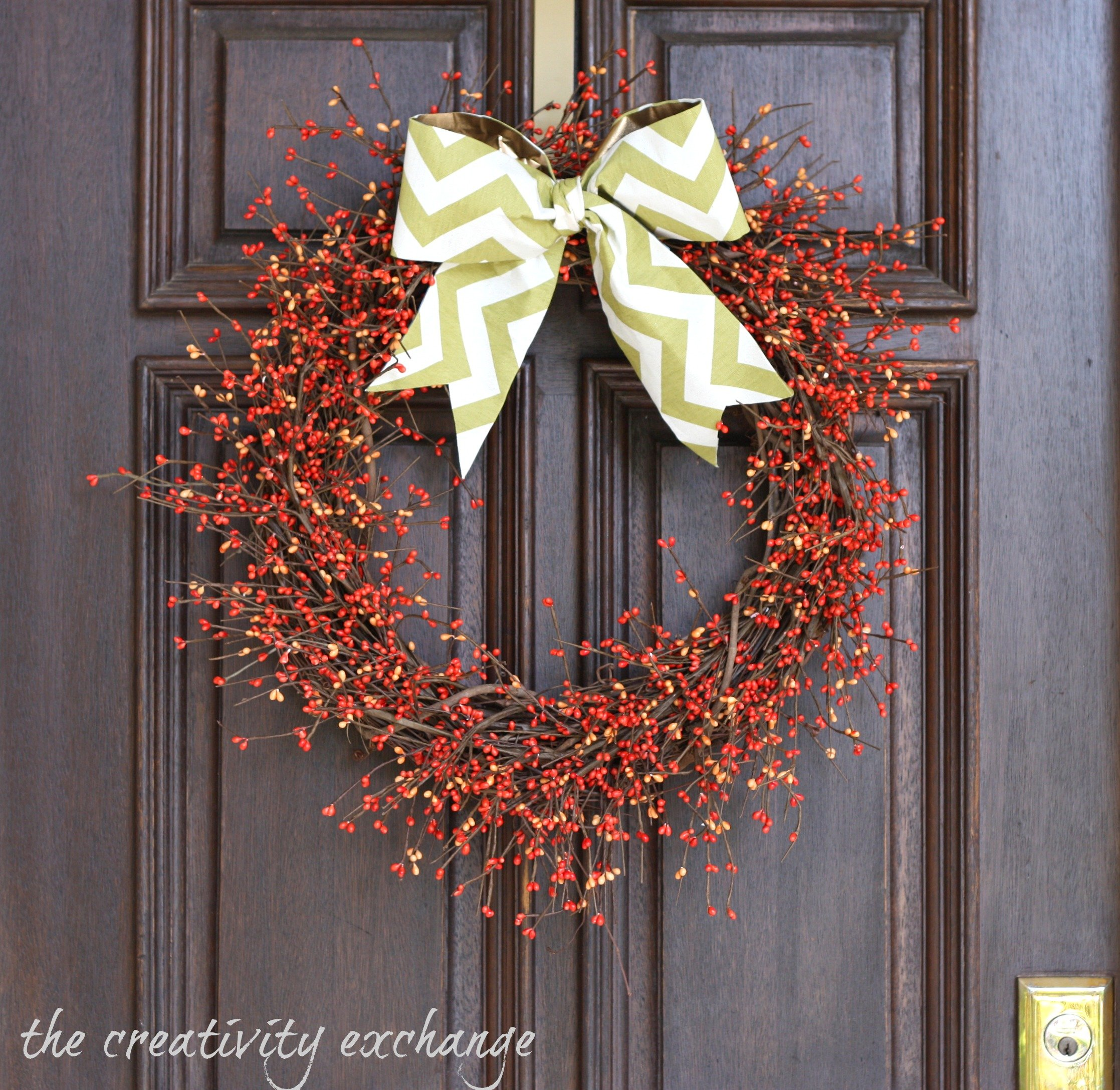 Fall Berry Wreath with DIY Scrap Fabric Bow…