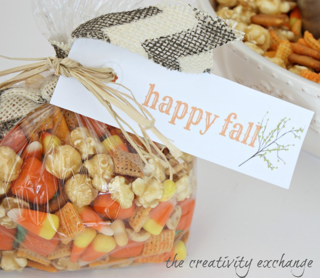 Sweet & Salty Fall Snack Mix with Carmel Corn, Cheddar Chex Mix and Candy Corn {The Creativity Exchange}
