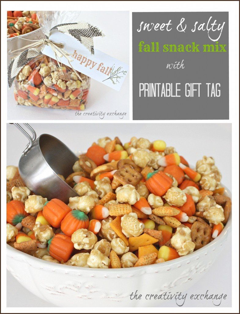 Sweet & Salty Fall Snack Mix with Carmel Corn, Chex Cheddar Mix and Candy Corn {The Creativity Exchange}