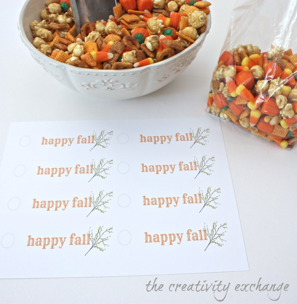 Sweet and Salty Fall Snack Mix with Free Printable Gift Tag (The Creativity Exchange)