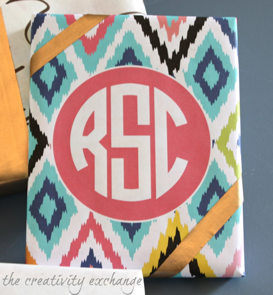 Use free monogramed printables for personalized gift wrap {The Creativity Exchange}