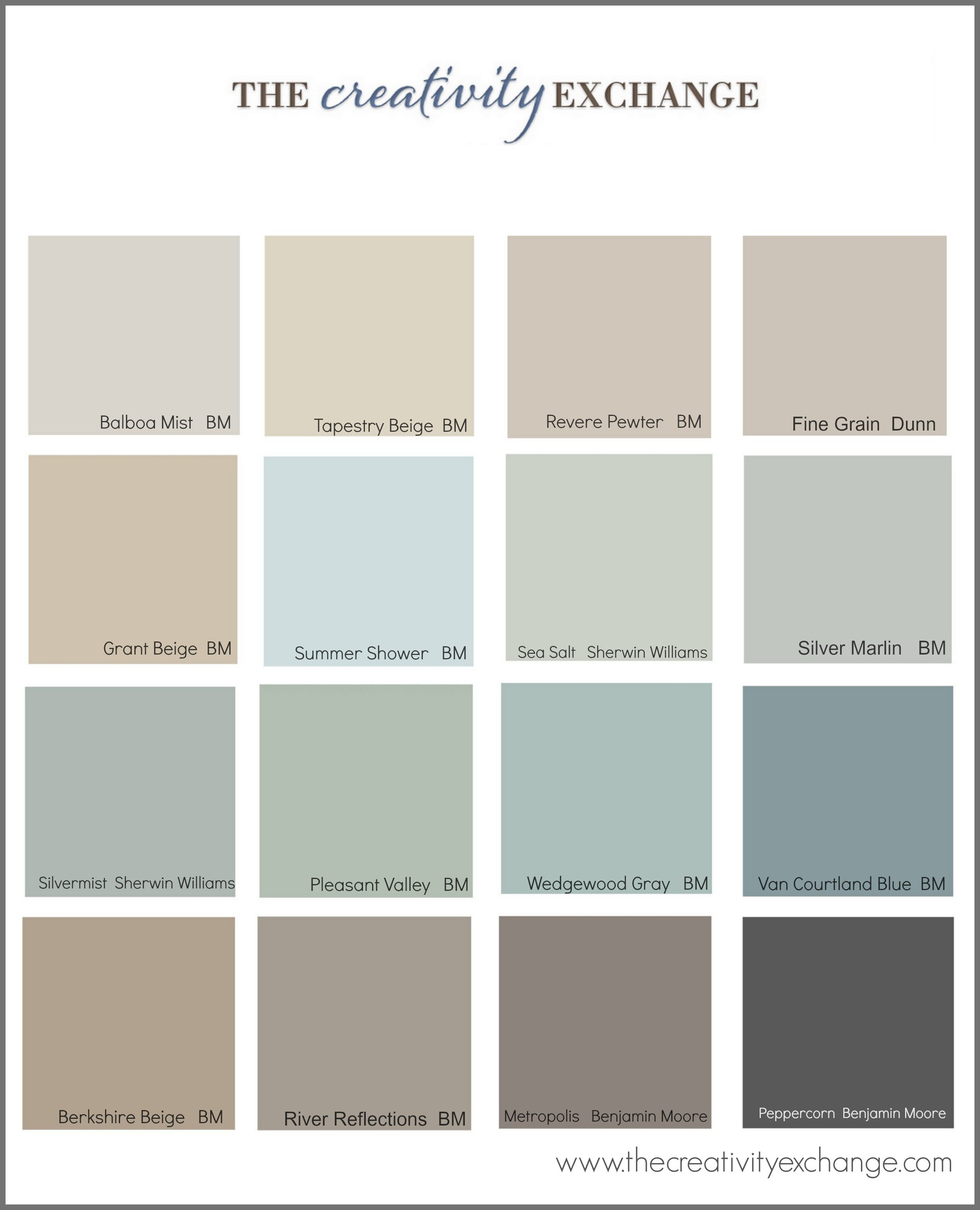 Collection of the most popular:pinned paint colors on Pinterest {Paint It  Monday}