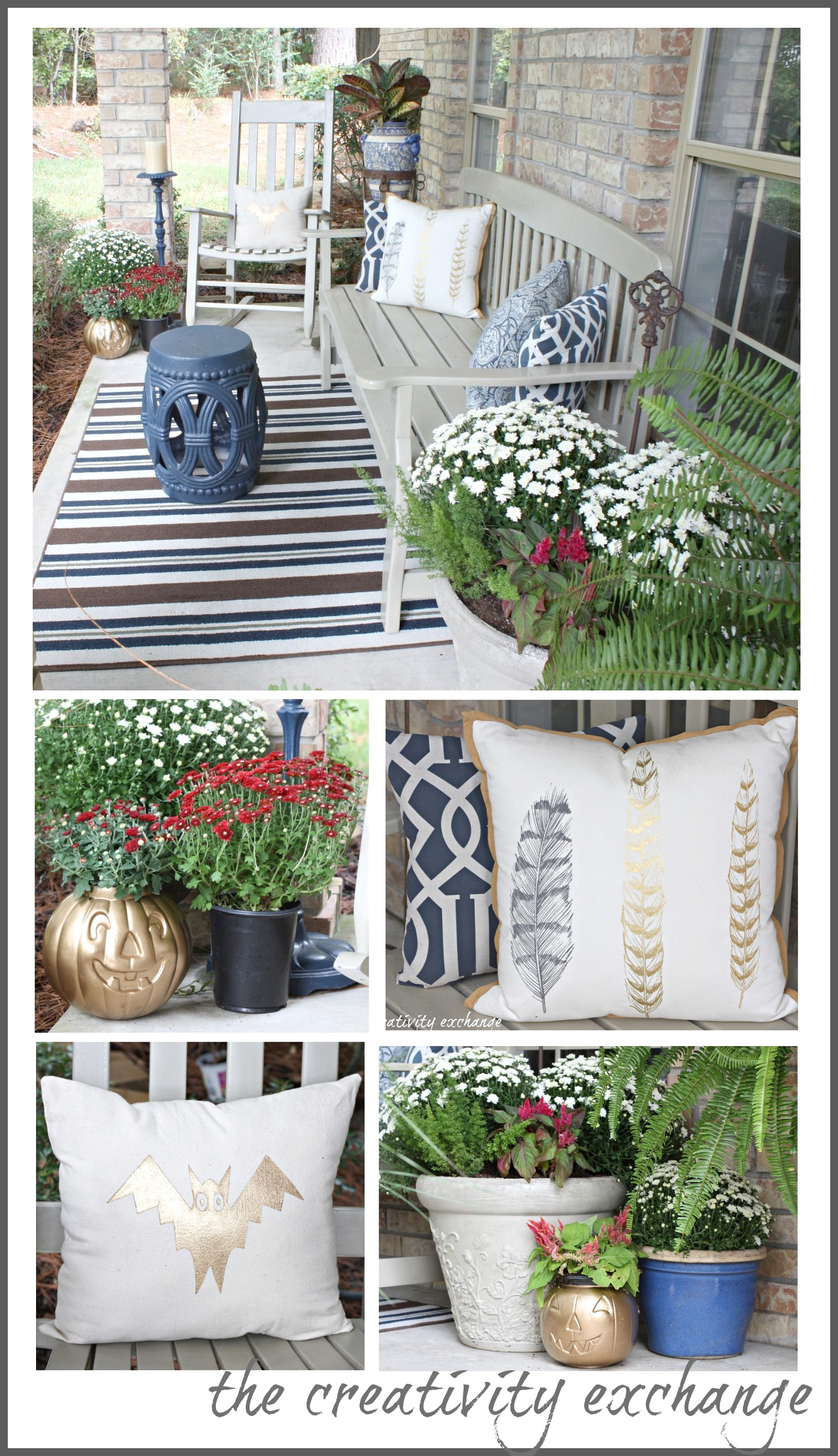 Fall front porch fluff sprayed gold pumpkin buckets - Fall decorating ideas for front porch ...
