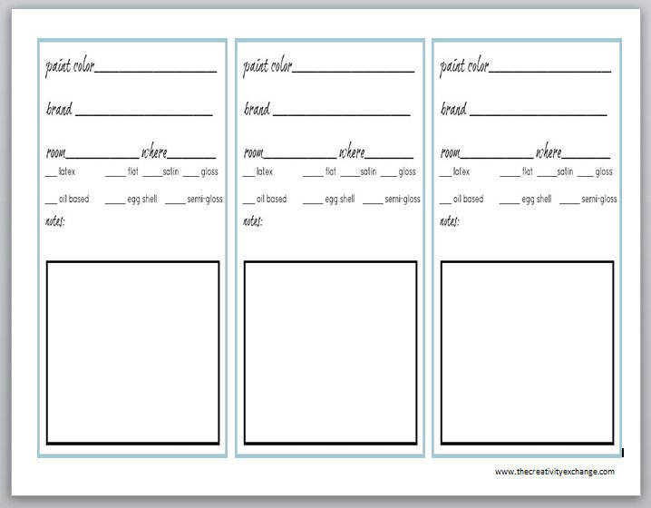 Printable labels for paint cans and color binder sheets for Labels by the sheet templates