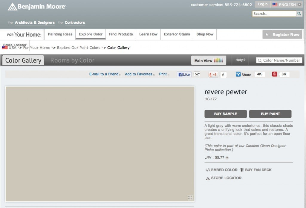 Revere Pewter by Benjamin Moore (Most popular and pinned paint color on Pinterest)