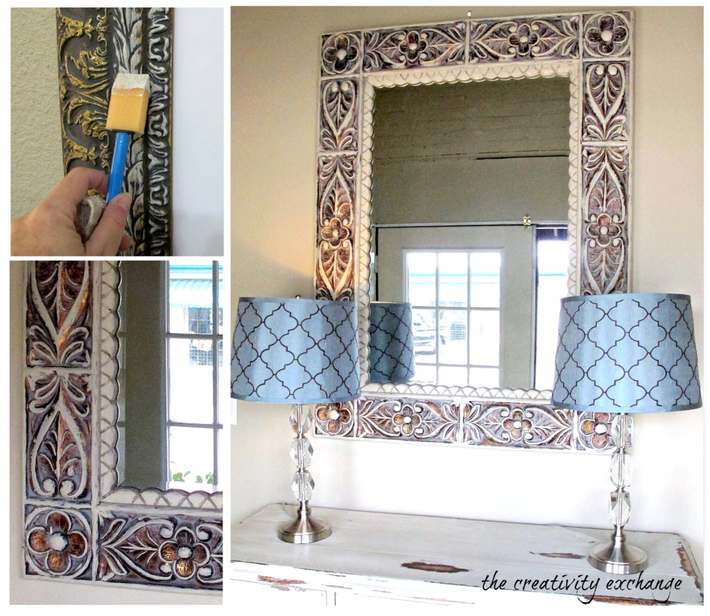 Tutorial for how to instantly update furniture, dated mirrors and old frames by dry brushing {Paint It Monday} The Creativity Exchange