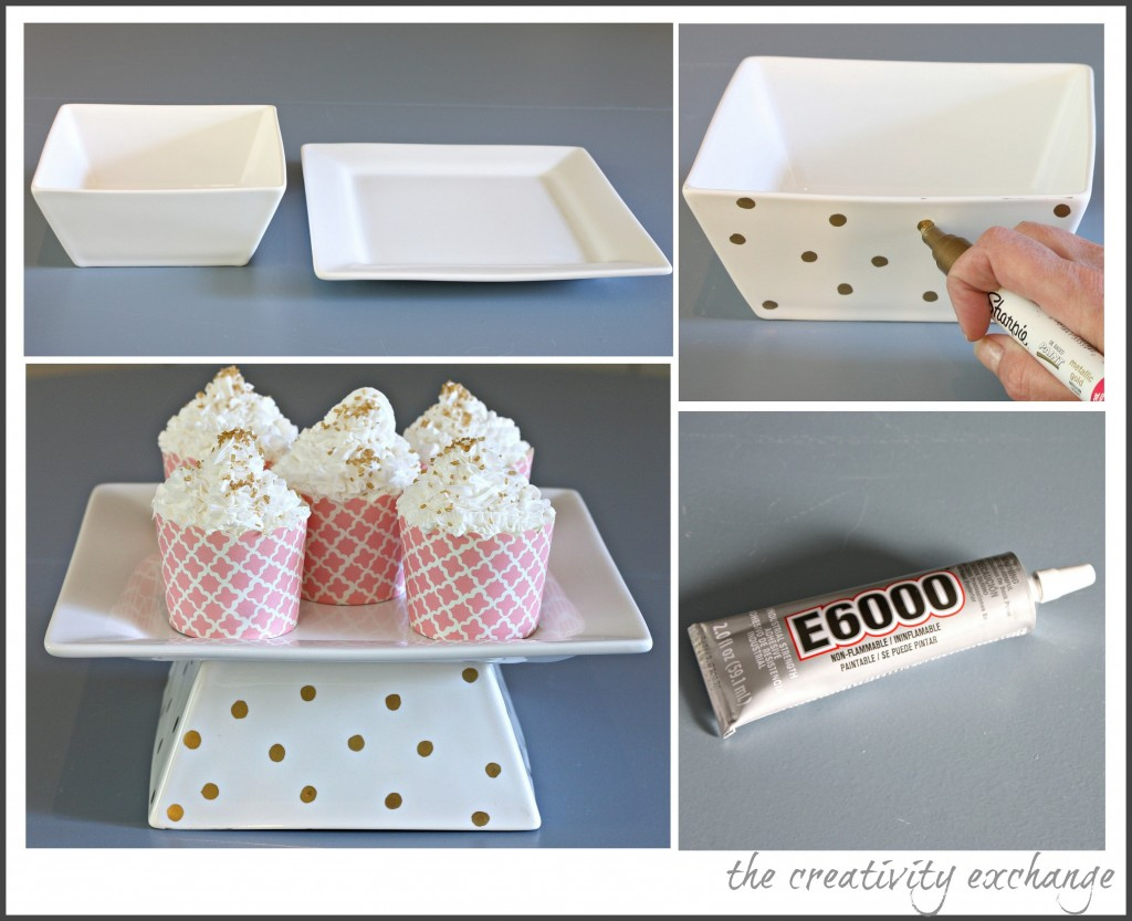 Tutorial for turning a plate and bowl into a chic cake stand for giving sweet treats {The Creativity Exchange}