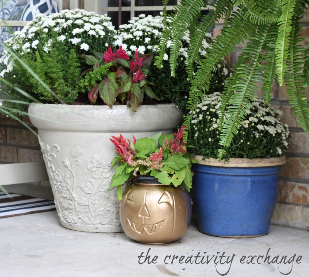 spray cheap pumpkin buckets with gold spray paint and turn into chic flower pots or vases for fresh flowers {The Creativity Exchange}
