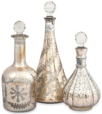 Etched gold mercury glass decanters (set of 3) for $62.00 at Home Decorators Catalog {Look for Less} The Creativity Exchange