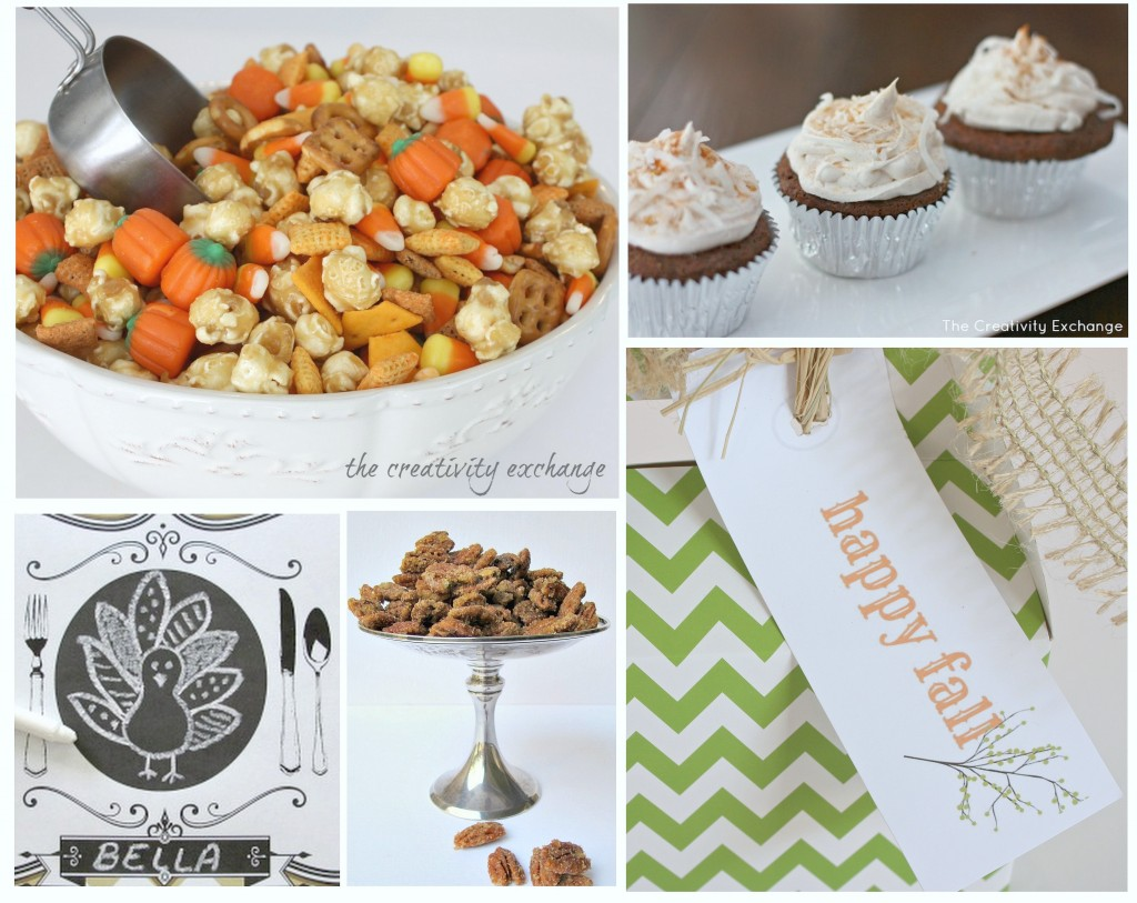 Collection of fall/ Thanksgiving recipes, snacks and printables from The Creativity Exchange