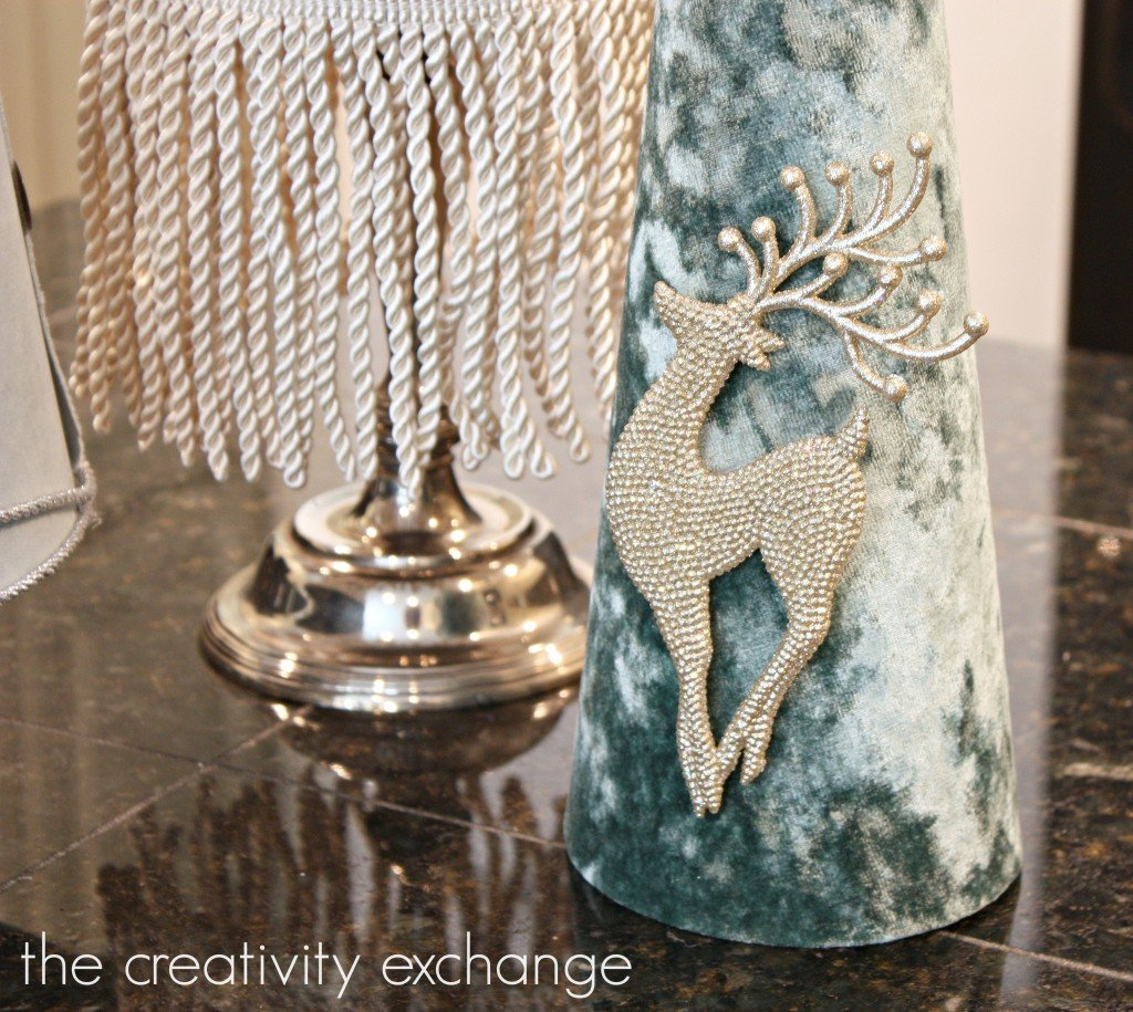 Fabric covered poster board Christmas tree cones {The Creativity Exchange}