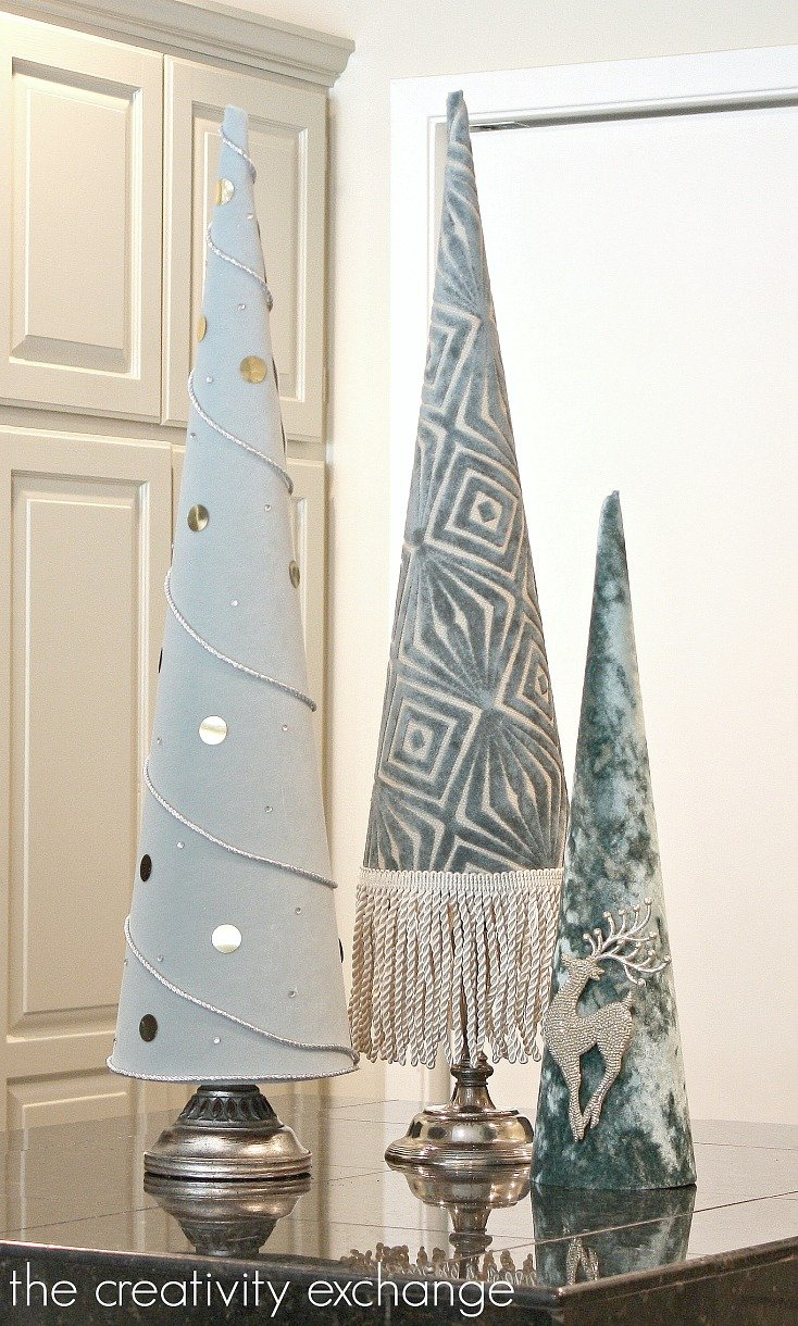 Fabric Covered Poster Board Tree Cones