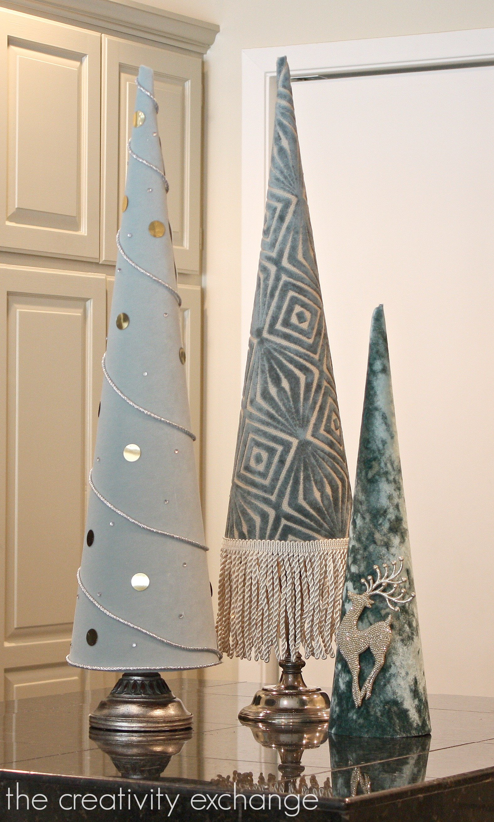 Fabric covered poster board Christmas tree cones The Creativity Exchange}