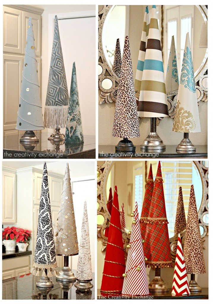 Fabric covered poster board tree cones {The Creativity Exchange}
