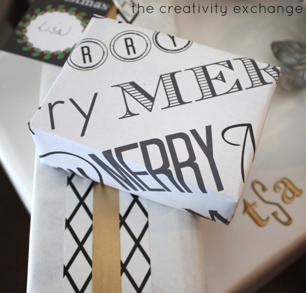 Free printable chalkboard tags, wrapping paper and sign that you write on with chalk.  {The Creativity Exchange:LD Products}