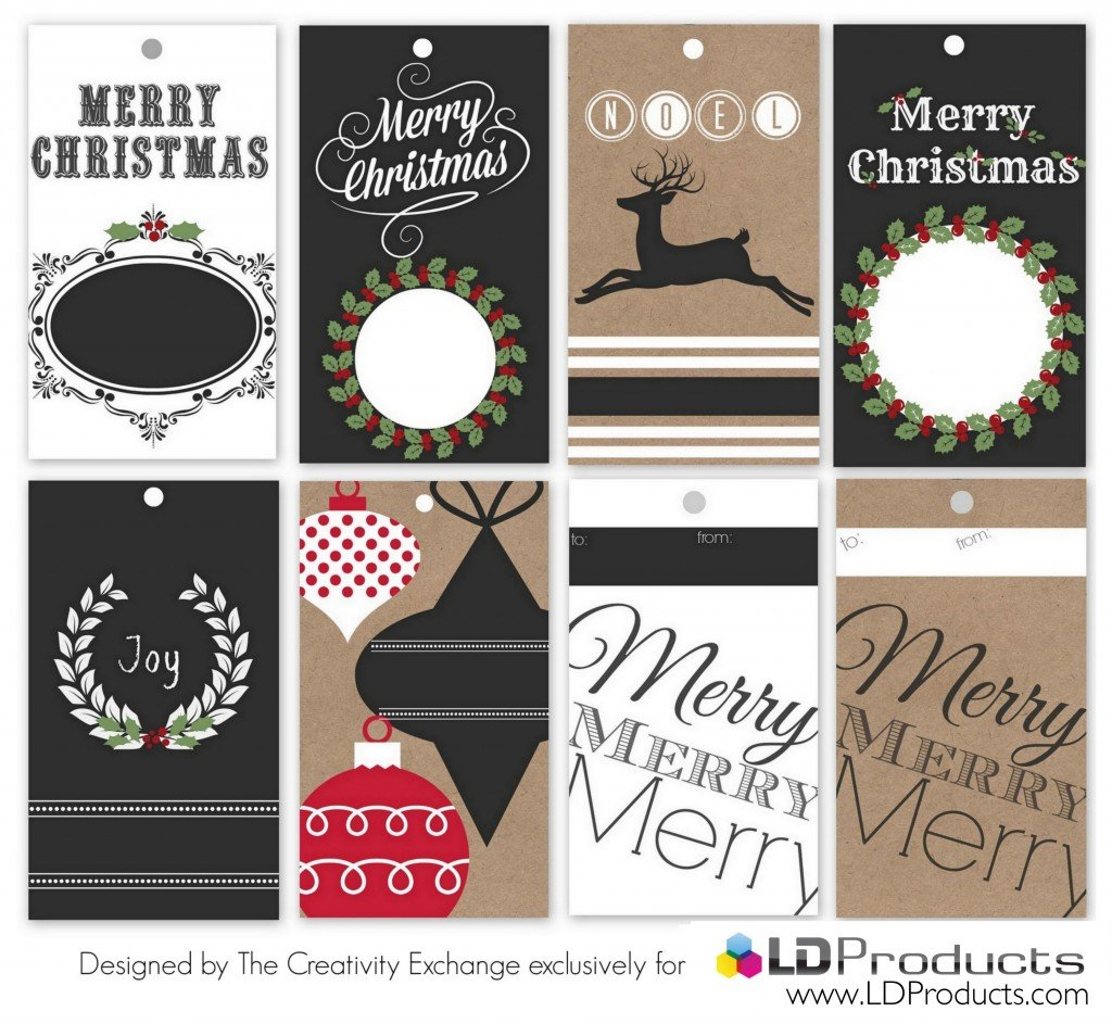 Free printable holiday chalkboard gift tags, gift wrap and sign that you can write on with chalk.  The Creativity Exchange exclusively for LD Products.