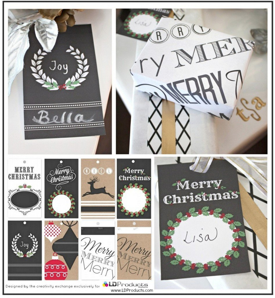 Free printable Christmas chalkboard tags, wrapping paper and sign that you can write on with chalk.  The Creativity Exchange for LD Products