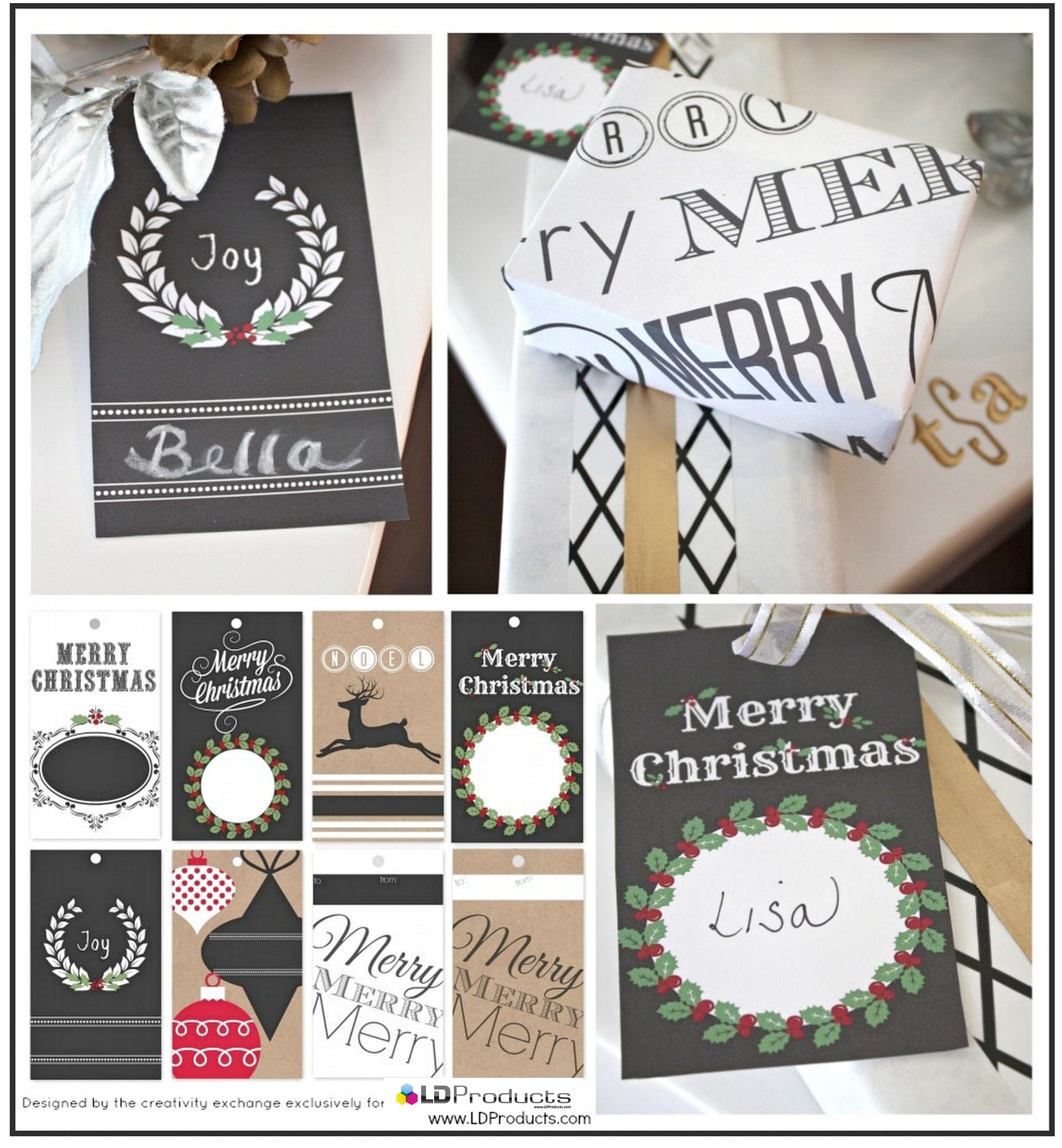 Free printable Christmas chalkboard tags, wrapping paper and sign that ...