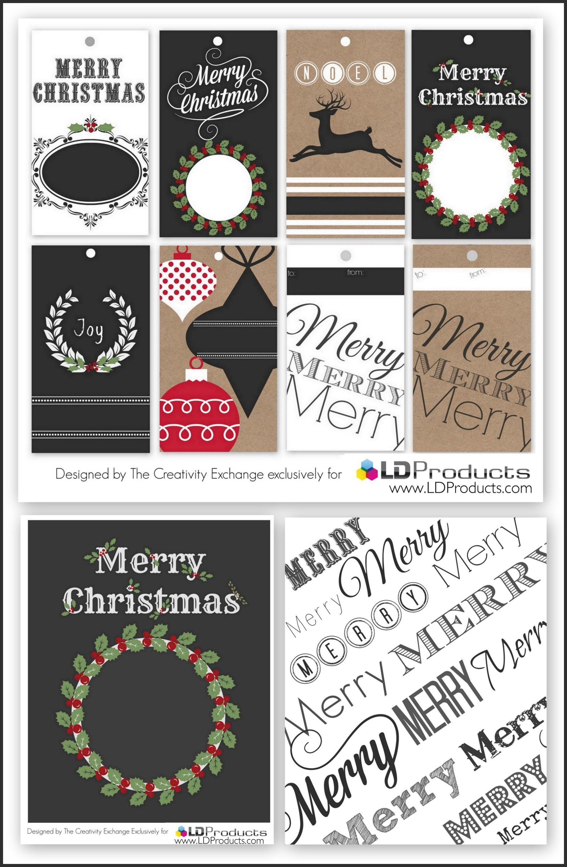 Free Printable Holiday TagsWrapping Paper and Sign
