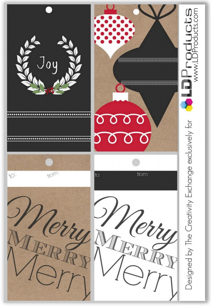 Free printable holiday chalkboard tags, wrapping paper and sign that you can write on with chalk.  The Creativity Exchange/LD Products