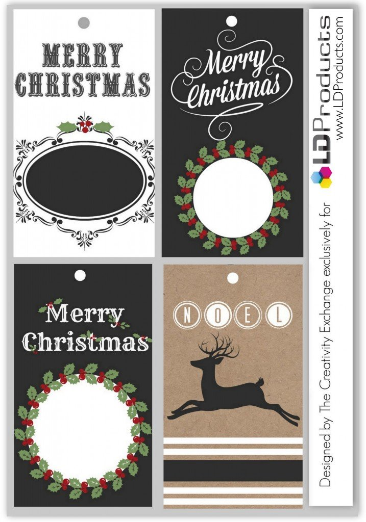 Free printable holiday chalkboard tags, wrapping paper and sign that you can write on with chalk. {The Creativity Exchange/LD Products