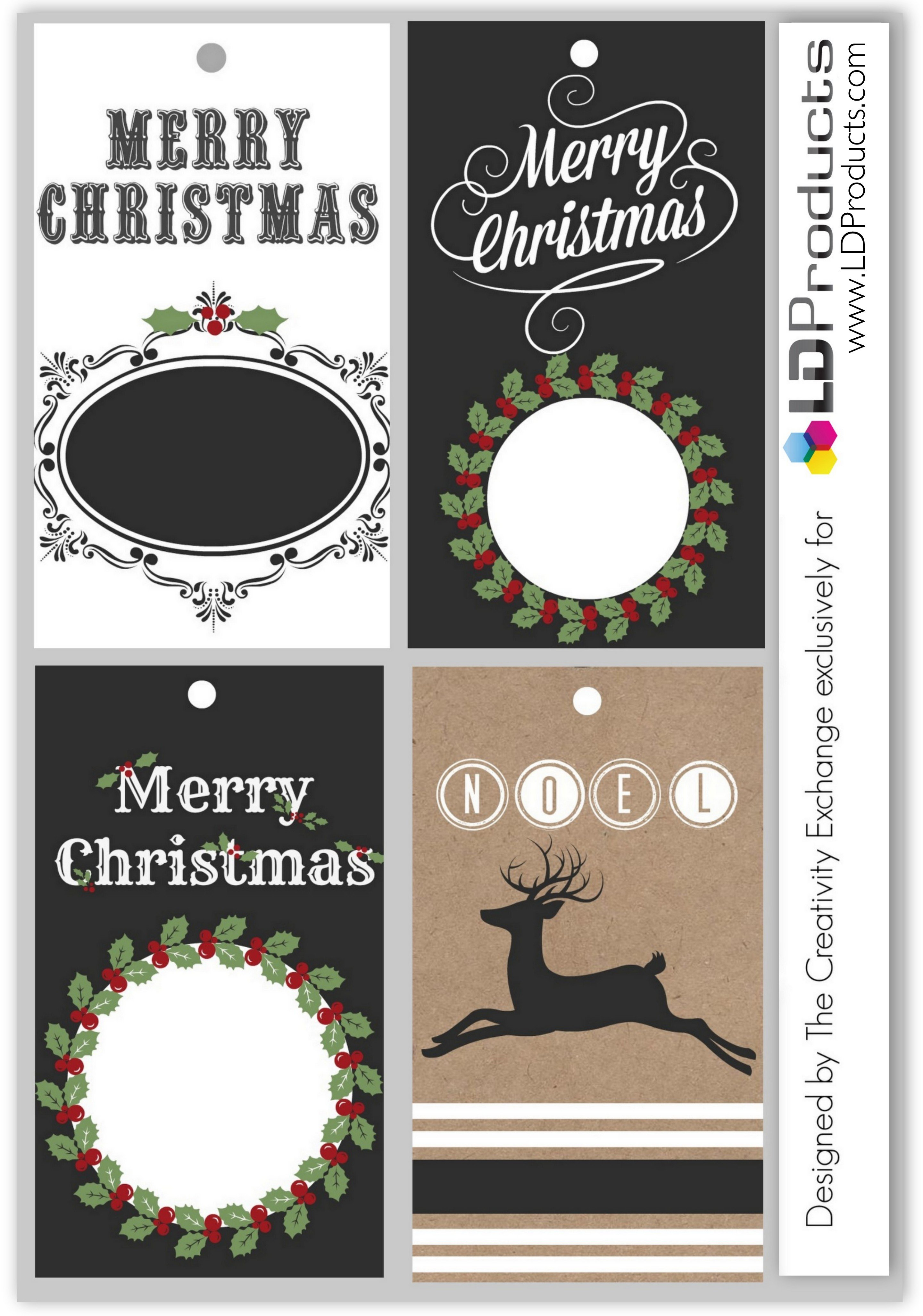 Free printable holiday chalkboard tags, wrapping paper and sign that ...