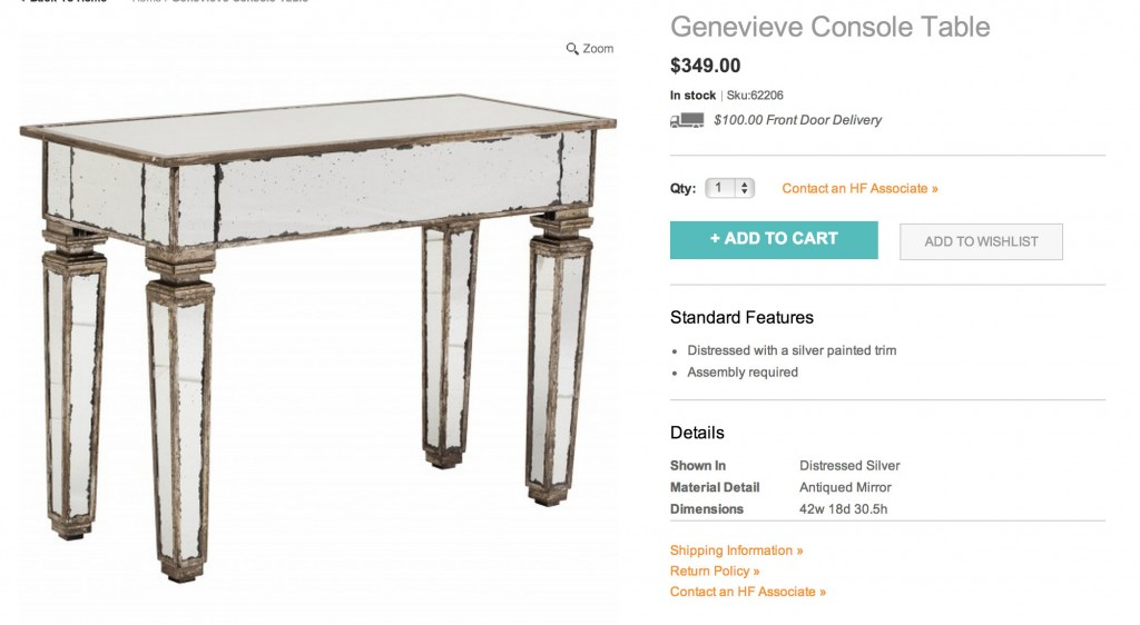 Genevieve Console Table for $349.00 from High Fashion Home {Look for Less} The Creativity Exchange