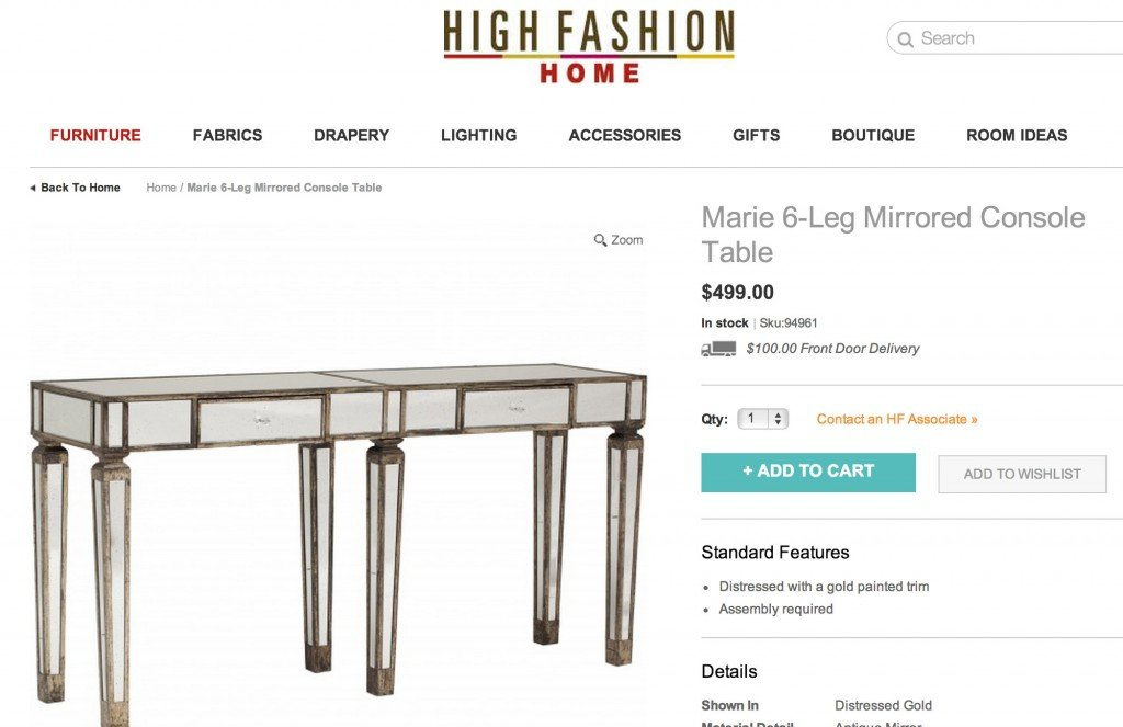Marie 6-legged console for $499.00 from High Fashion Home {Look for Less} The Creativity Exchange
