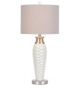 white pitted ceramic table lamp for $49.00 from Kirkland's {Look for Less} The Creativity Exchange