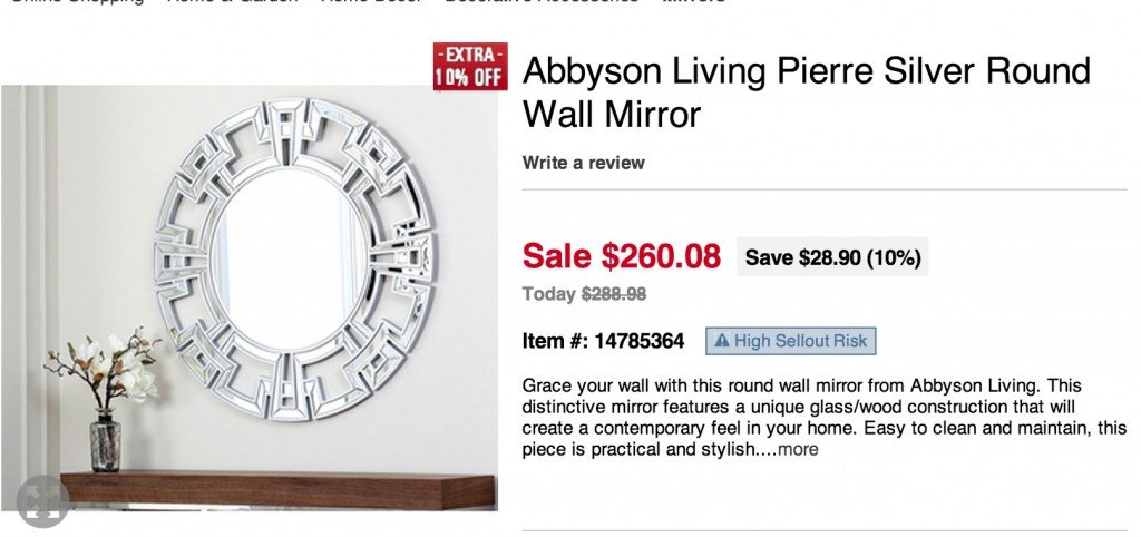 Abbyson Wall Mirror for $260.00 at Overstock {Look for Less} The Creativity Exchange