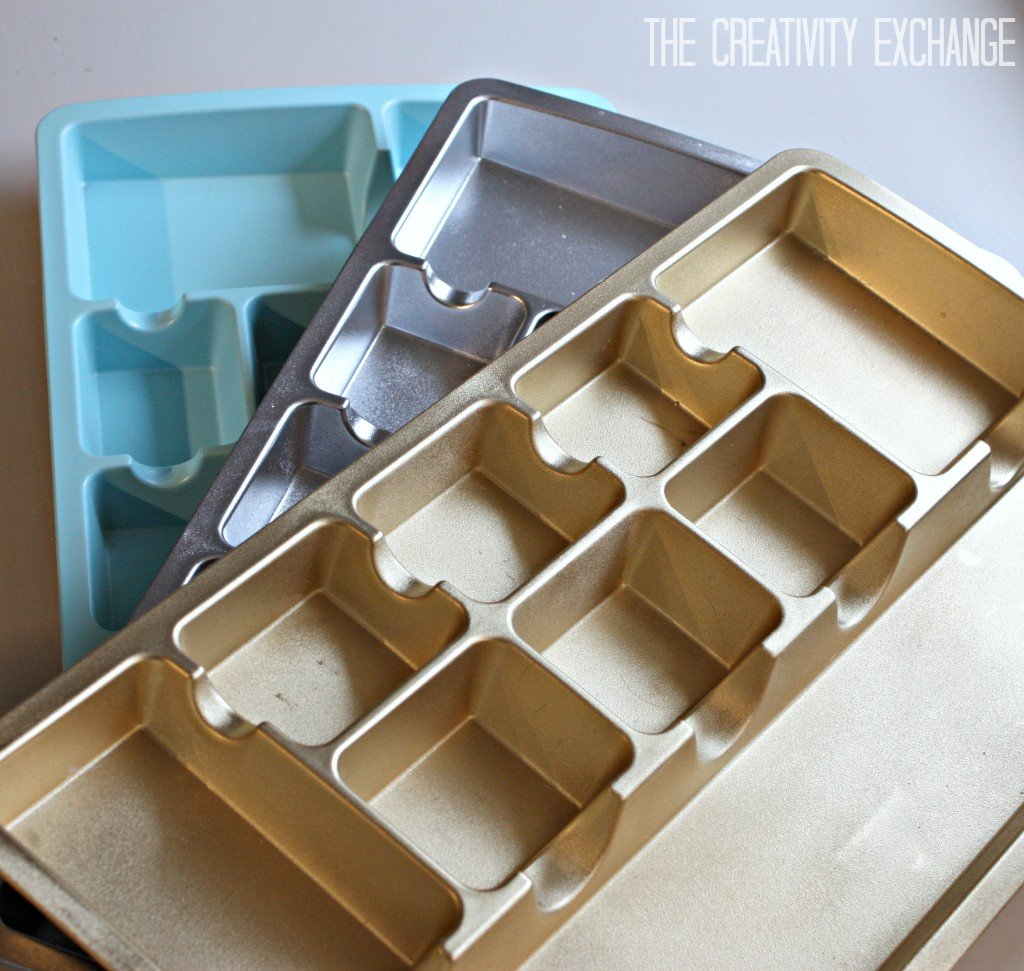 Spray paint cheap desk organizers in metallics for pretty makeup, jewelry and desk drawers. {Paint It Monday} The Creativity Exchange